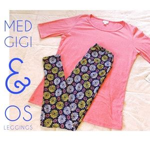 NWT Gorgeous Lularoe Set Med Gigi & OS Leggings